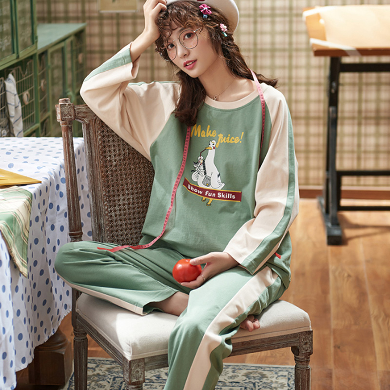 spring Autumn Batch of Women's Cotton Long Sleeve   Pajamas     Set   Loose Leisure Christmas Adult Women Sleepwear Elastic pijama mujer
