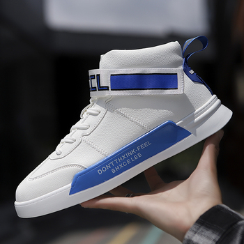 Leather Sneakers For Men High-Top Men Shoes Breathable Fashion White Leather Shoes Man Flats Casual High Quality Mens Trainers недорого