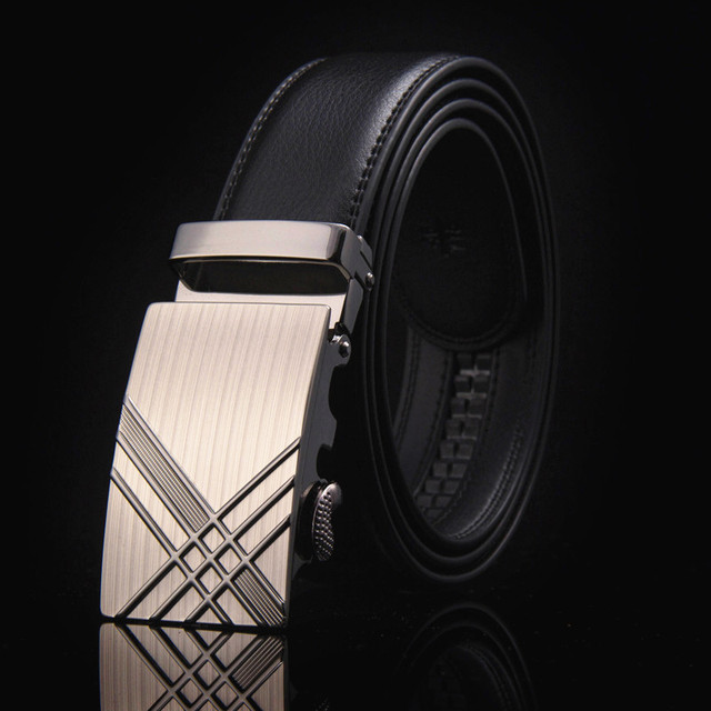 Famous Brand New Male Designer Automatic Buckle Cowhide Leather belt 110cm-150cm Luxury for men 3