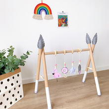 Wooden Nordic Style Baby Gym Play Frame Nursery Sensory Ring-Pull Toy Infant Child Clothes Rack Toddler Kids Room Decoration