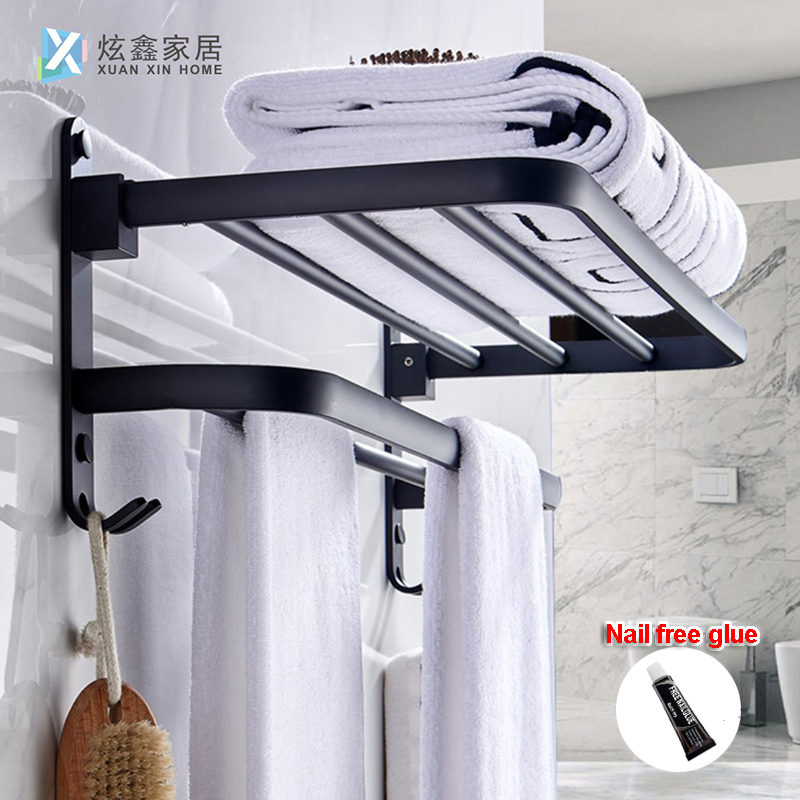 Bathroom Towel Rack Matte Black Towel Holder Aluminum Wall Mounted Folding Storage Shelf Hotel Towel Hanger Hook Accessories