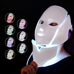 Foreverlily led terapia máscara facial 7 cores máquina de terapia de fóton luz cuidados com a pele rugas acne remoção rosto beleza