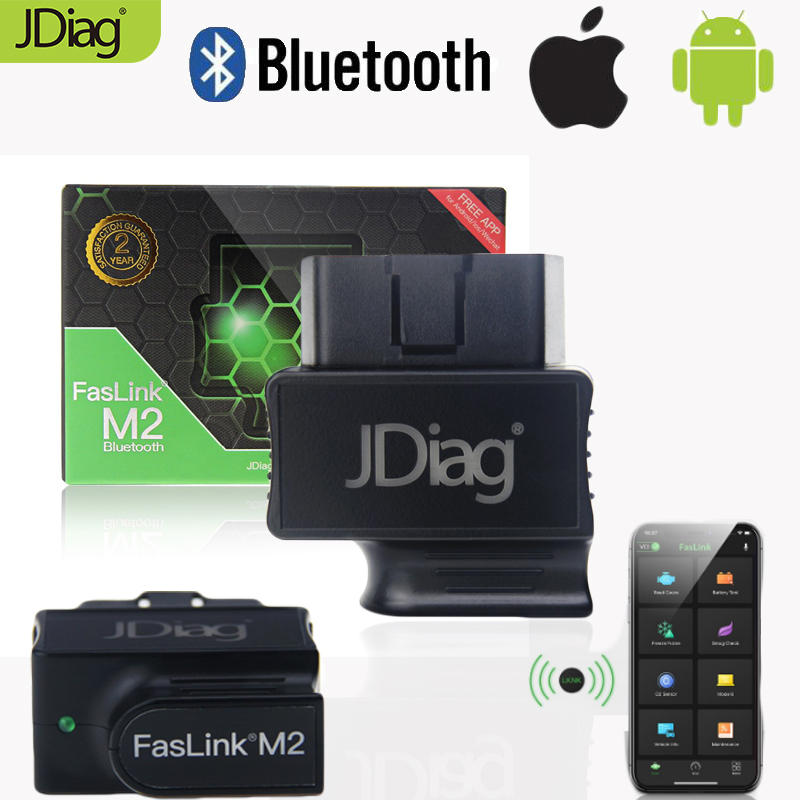 JDiag Auto Diagnostic Tool FasLink M2 Car OBD2 Scanner with Bluetooth Code Reader with ISO/Android APP Free Replace Easydiag 3.0 image