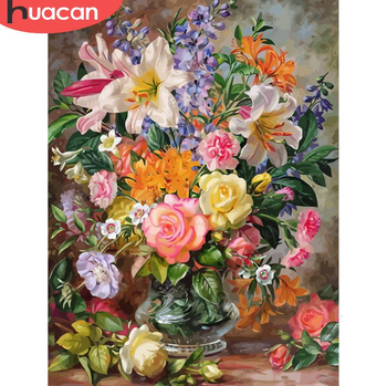 HUACAN DIY Oil Painting Flowers HandPainted Coloring By Numbers Drawing Kits Canvas Pictures Home Decoration Gift