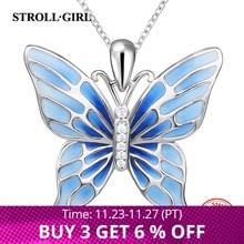 Collane sveglie del pendente della farfalla dellargento sterlina 925 di strolls girl con i monili dargento di modo dello smalto blu trasporto libero
