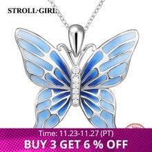 Strollgirlเงินสเตอร์ลิง925น่ารักจี้ผีเสื้อสร้อยคอสีฟ้าเคลือบแฟชั่นเงินเครื่องประดับฟรีจัดส่ง