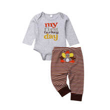 My First Turkey Day Outfit Newborn Baby Boys Girls Clothes Set Thanksgiving Cotton Bodysuit+Stripe Pants 2Pcs Toddler Kids(China)