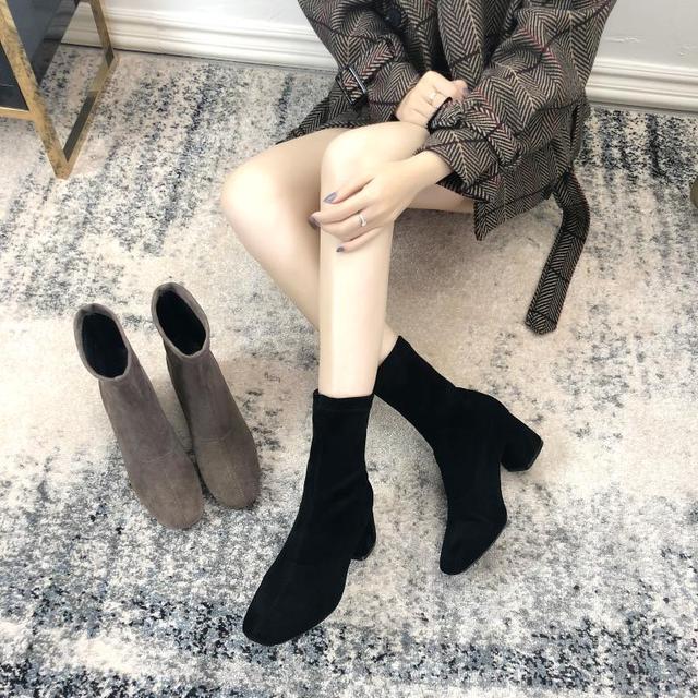 حذاء الأحذية الربيع والخريف الأحذية واحدة سميكة الكعوب الجوارب الأحذية مربع برئاسة مرونة الأحذية عالية الكعب مارتن الأحذية