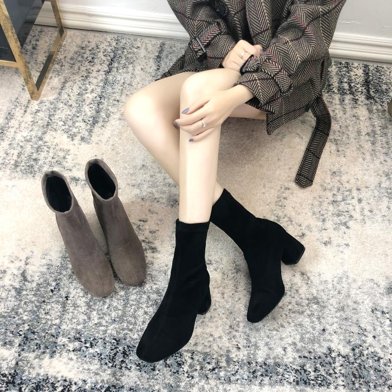 Shoe Boots Spring And Autumn Single Boots Thick Heels Socks Boots Square-headed Elastic Boots High-heeled Martin Boots