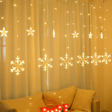FENGRISE Snowflake Moon Star Curtain Fairy String LED Light Christmas Decoration for Home Christmas Fairy Lamp Holiday Lighting(China)
