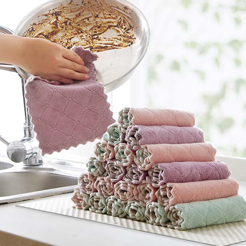 Super Absorbent Microfiber Kitchen Dish Cloth Double-sided Scouring Pad Rags High-efficiency Household Cleaning Towel