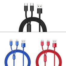 USB 2.0 Type A Male To Dual Micro USB Male Splitter Y Charging Cable Cord for Huawei Mobile Phone Tablet Rechargeable Battery(China)