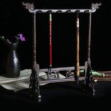 Усовершенствованная Китайская каллиграфия, кисти, держатель для ручки, подставка из розового дерева, 12 крючков, кисти, подвесные простые искусственные ручки, подставка для ручки