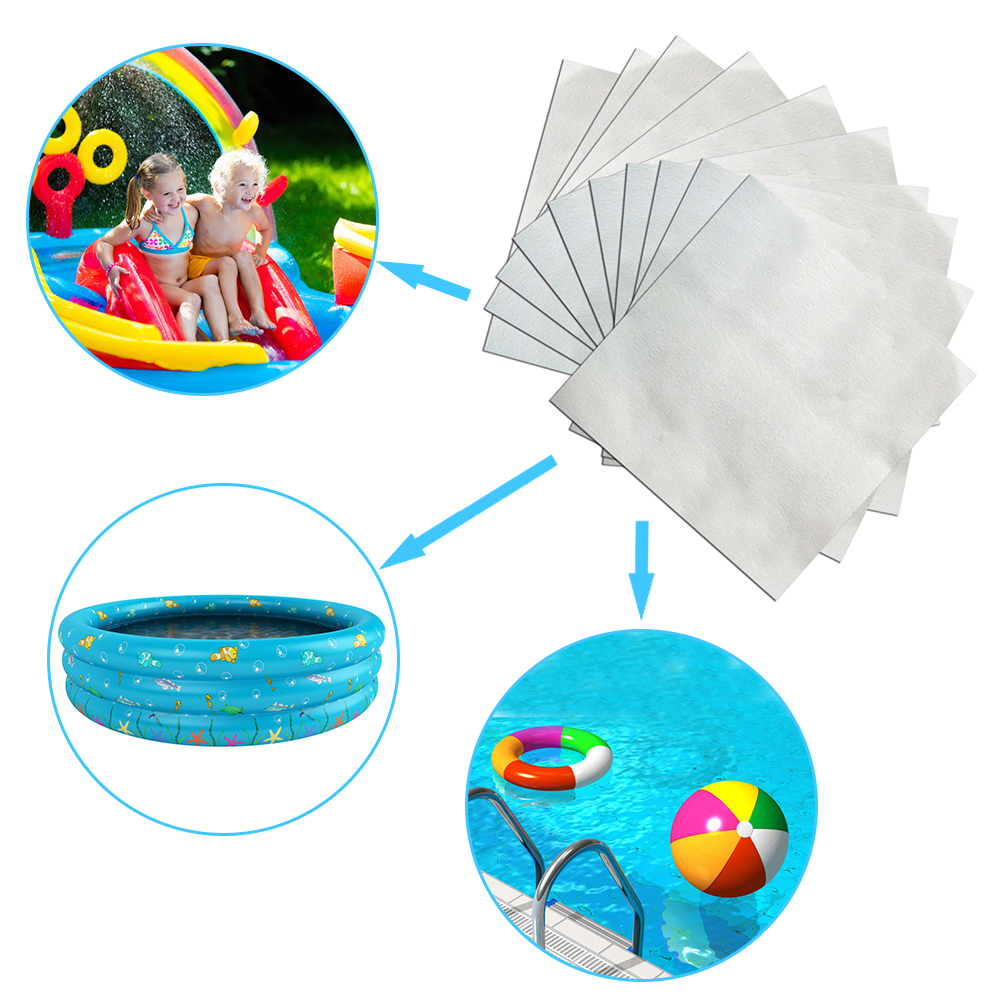10PCS/Set Transparent Inflatable Swimming Pool Toy Repair Kit Patches Glue Inflatable Boat 5x5cm Repair Mattress Swim Ring