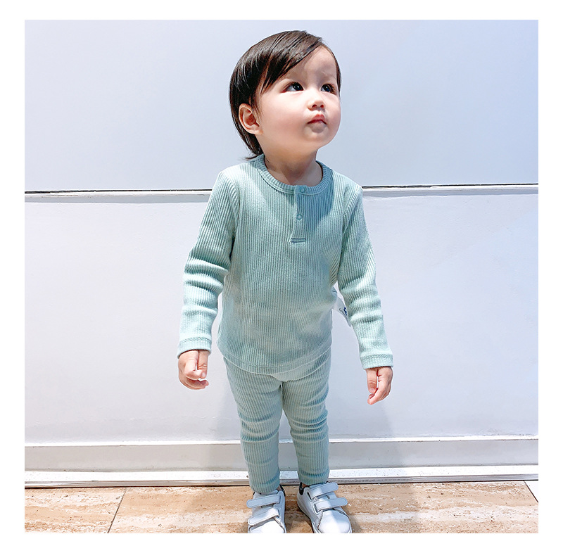 Soft Ribbed Toddler Girl Pajamas For Baby Boys Clothes Set Autumn Winter Children Outfits Long Sleeve Tops Pants 2 Pcs Kids Suit (22)