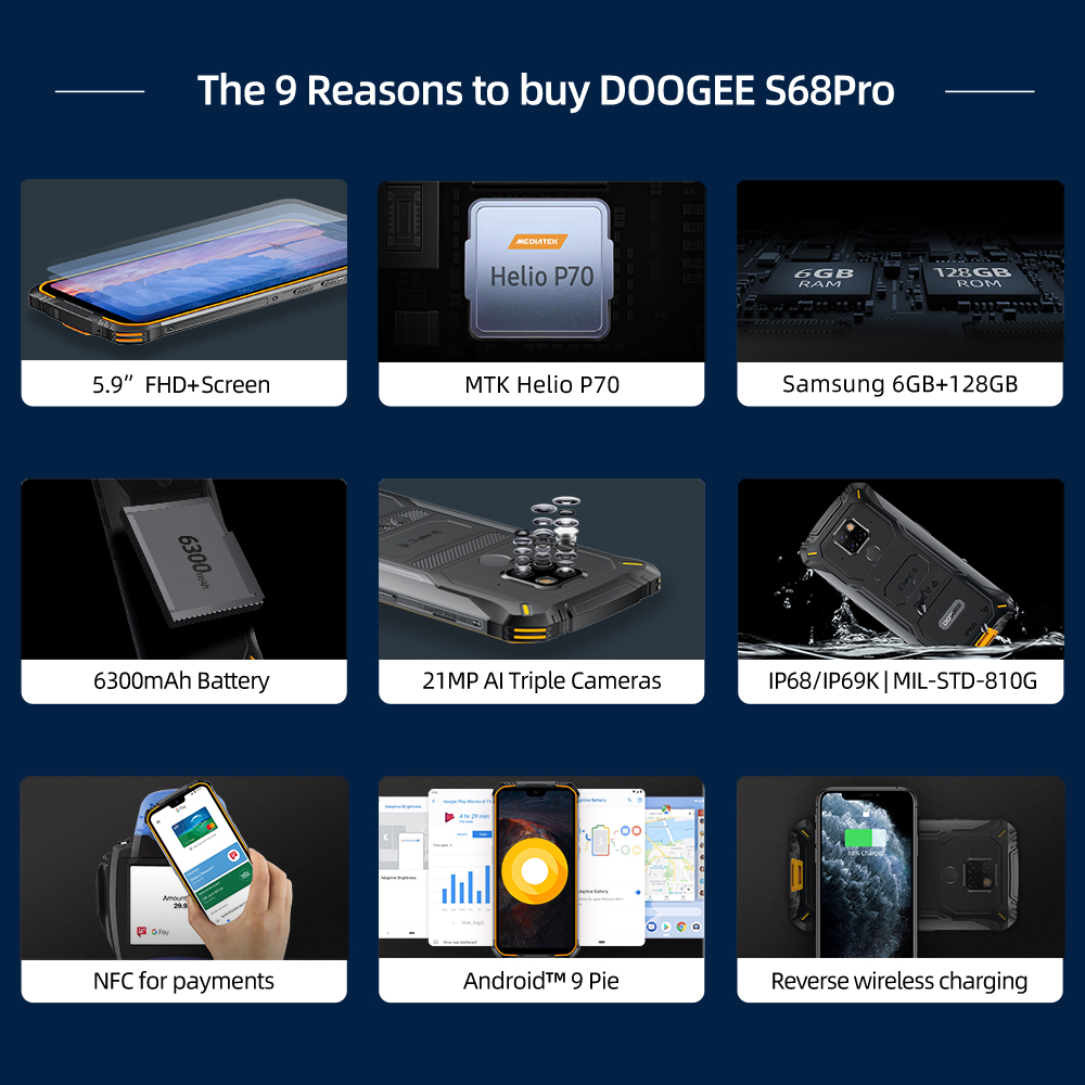 IP68 Waterproof DOOGEE S68 Pro Rugged Phone Helio P70 Octa Core 6GB 128GB Wireless Charge NFC 6300mAh 12V2A Charge 5.9 inch FHD+ 1