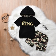 Summer Kids Hoodies Clothes For Boys Set Short Sleeve Hooded T-Shirt+Camouflage Shorts Letter King Baby Boys Clothes 6 Years D30 цена 2017