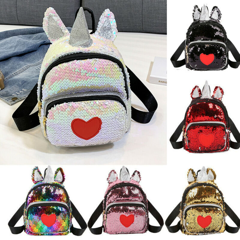 Women Glitter Sequined Backpack Cute Ears Double Shoulder Bags Mini Bling Backpacks Children Girls Sequined Travel Backpacks