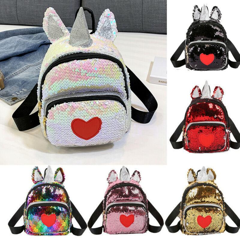 Women Glitter Sequined Backpack Cute Ears Double Shoulder Bags Mini Bling Backpacks Children Girls Sequined Travel Backpacks