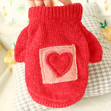 Dog Cat Sweater Teddy Christmas Red Pet Jumper LOVE Clothes for Small Cats Dogs XS S M L XL