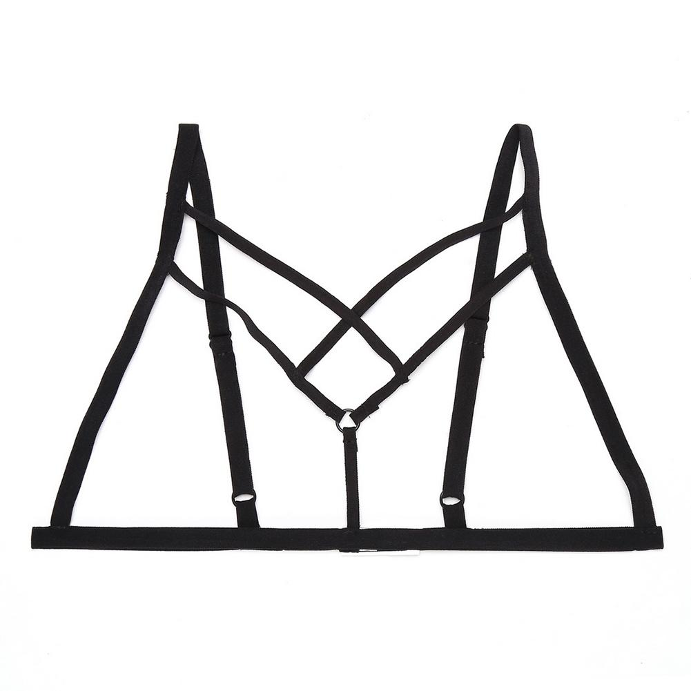 Women Sexy Harness Bandage Cupless Elastic Cross Strappy Hollow Out Cage Bra