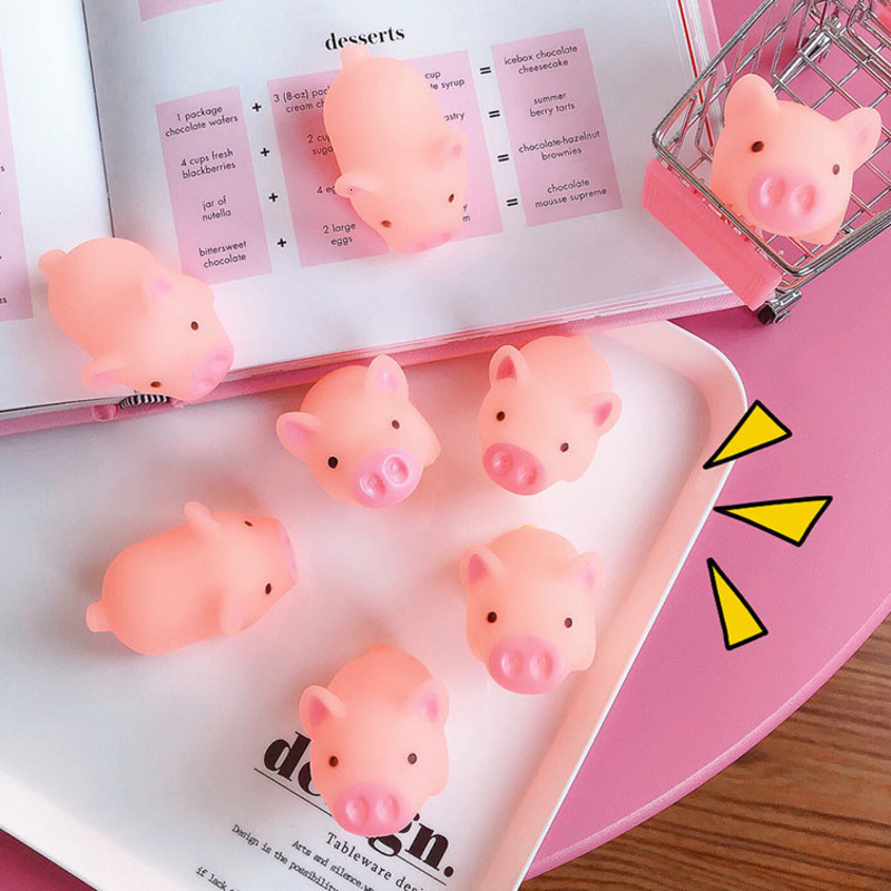10pcs/set Squeeze Mini Pink Pigs Toy Cute Vinyl Squeeze Sound Animals Lovely Antistress Squishies Squeeze Pig Toys For Kids Gift