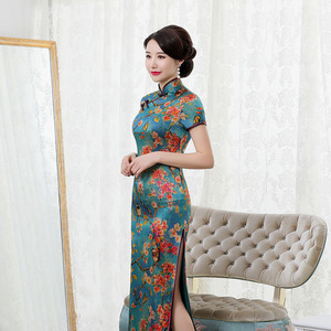 Image 3 - Summer 2020 Long Elegant High grade Real Silk Qipao Improved Qipao Dress Retro Hon Rhyme Embroidered With Short Sleeves