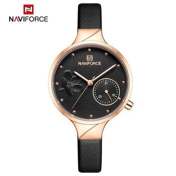 NAVIFORCE Women Watches Top Brand Luxury Fashion Female Quartz Wrist Watch Ladies Leather Waterproof Clock Girl Relogio Feminino 8
