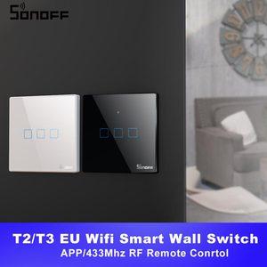 Image 1 - Itead SONOFF TX T2/T3 ue inteligentne wifi ścienny dotykowy przełącznik oświetlenia inteligentny dom 1/2/3 Gang 433 RF/głos/APP/sterowanie dotykowe praca z Alexa