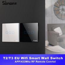 Itead SONOFF TX T2/T3 الاتحاد الأوروبي الذكية واي فاي الجدار مفتاح إضاءة يعمل باللمس المنزل الذكي 1/2/3 عصابة 433 RF/صوت/APP/التحكم باللمس العمل مع اليكسا