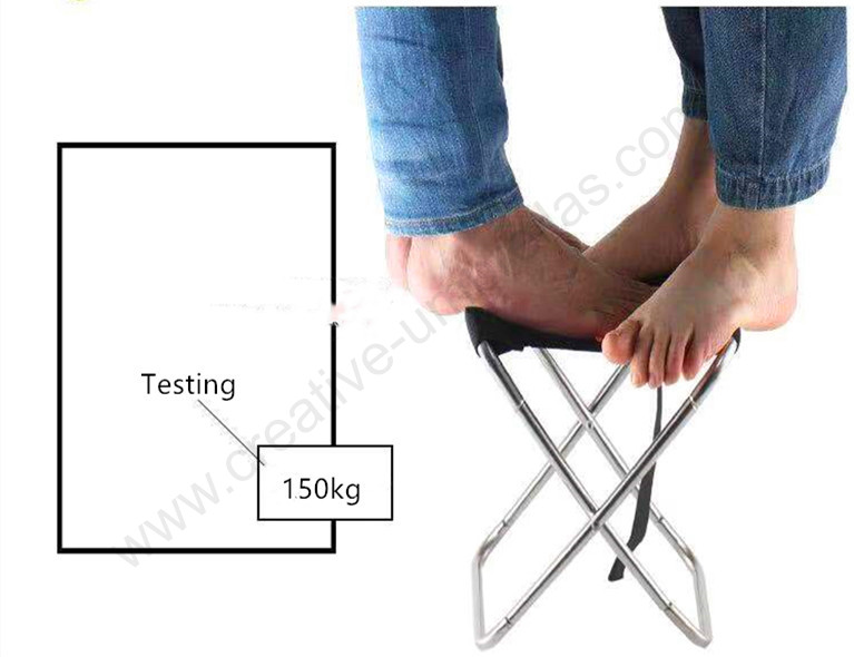 Bearing 150kg waterproof tensile 600D oxford outdoor stainless steel compact folding auto open fishing chair Horse bench (Black color)
