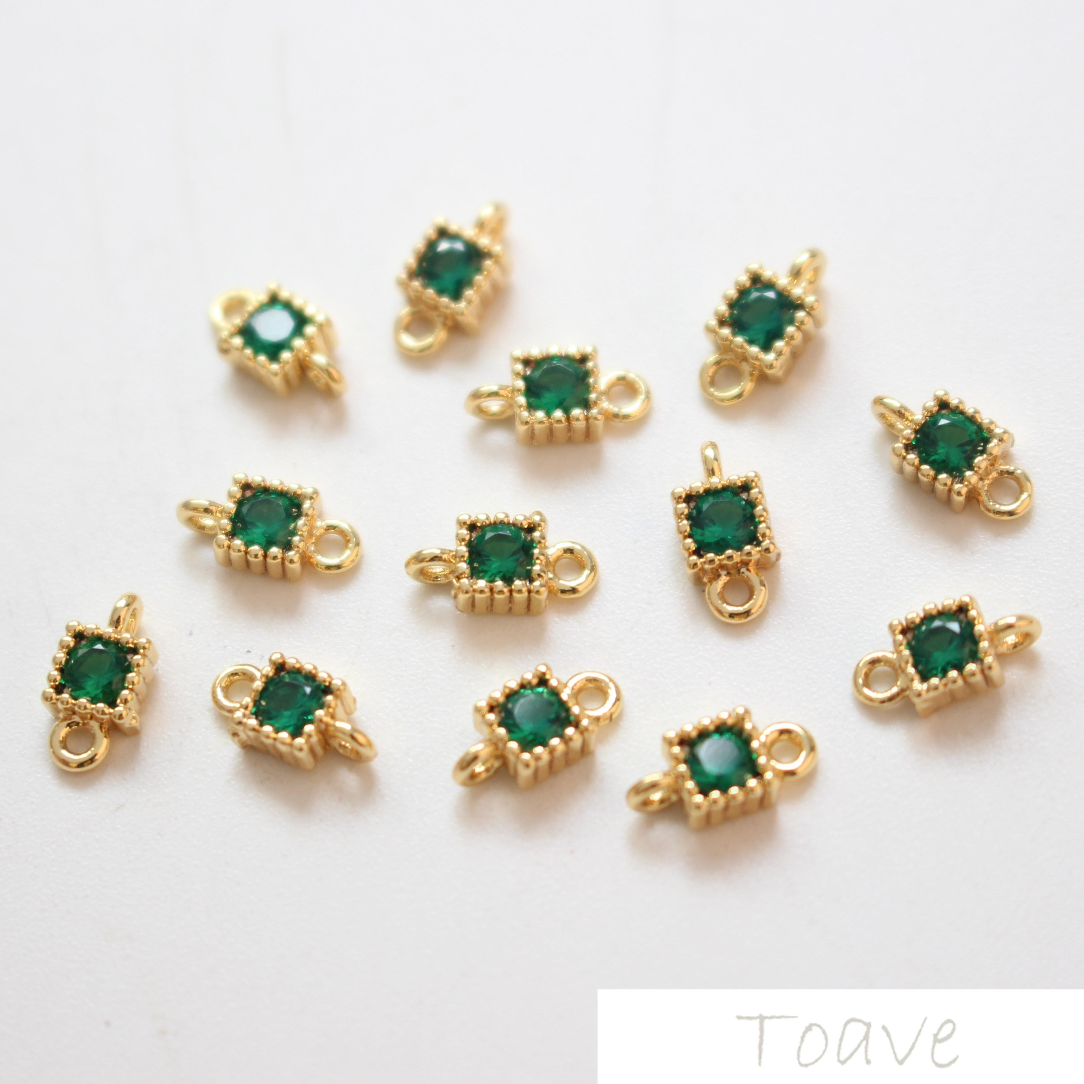 Copper Plating 18K True Gold Square Zirconium Double Hanging Drill Diy Ear Decoration Bracelet Necklace Material Accessories