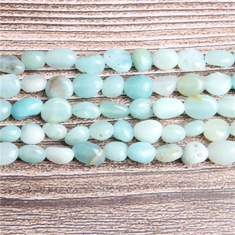 Lan Li 6x8 8x10mm Natural irregular Amazons stone loose beads smooth loose...