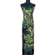 130 см зеленый блесток павлин феникс перо кружевная ткань черная сетка вышитое платье Аппликации пришить патч для свадебного украшения
