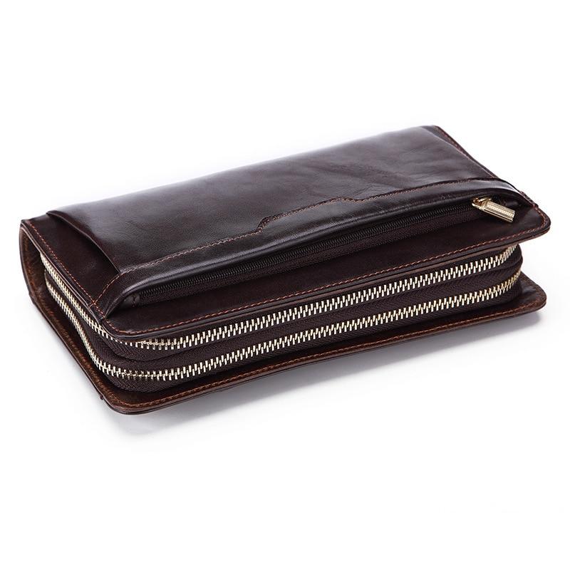Retro biznes podłużny portfel męski lśniący połysk skórzany zamek z prawdziwej skóry wołowej moda na co dzień wiele kart telefon torba moneta kiesa