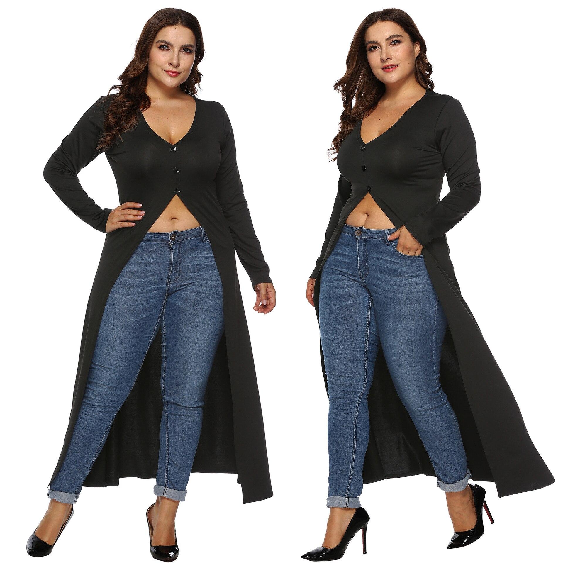 Plus-sized Women's Autumn And Winter Long Sleeve Irregular Bare Midriff Slit Dovetail Skirt Deep-V Full-Length Skirt 11008