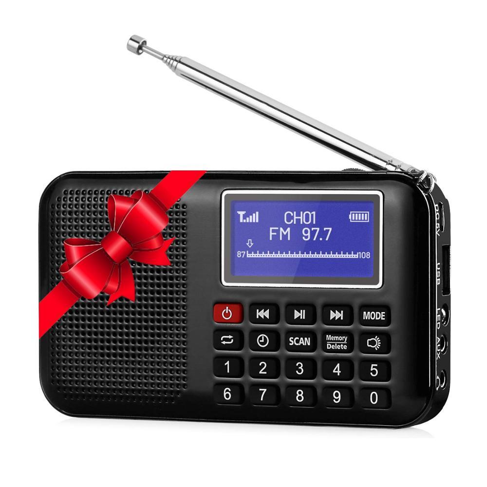 Digital FM AM Radio Max 16GB MP3 Player Multi-media Speaker Flashlight Golden US