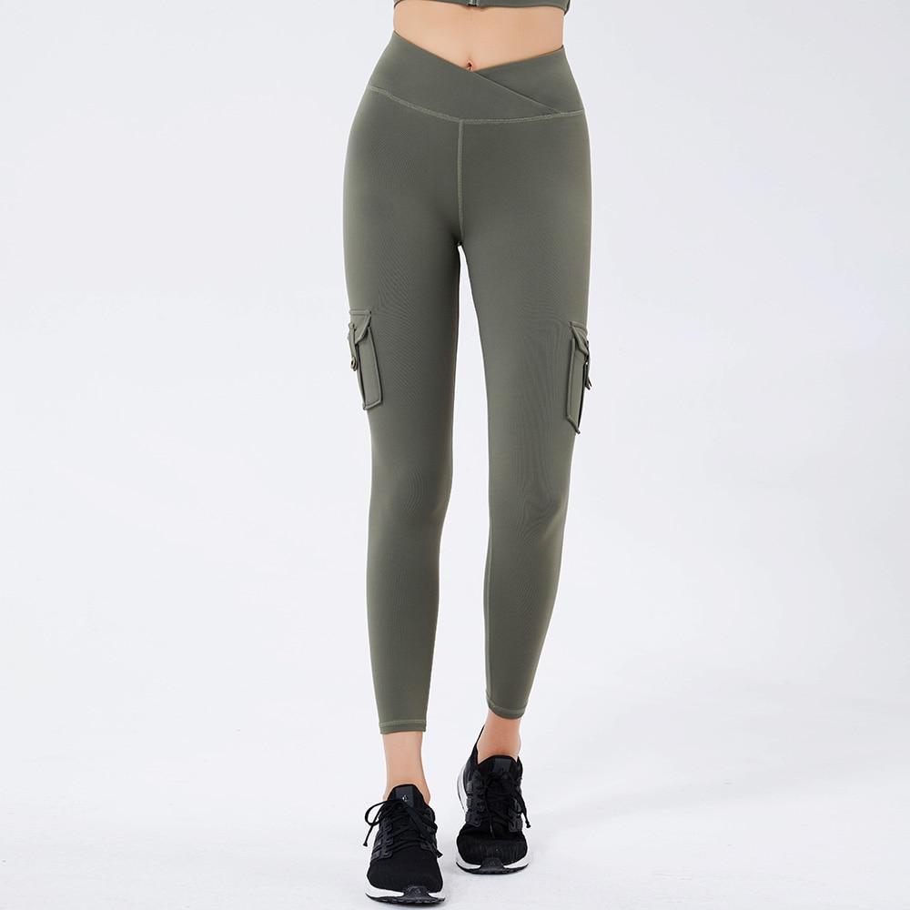 Women Autumn Workwear Yoga Leggings With Pockets Elasticity High Waist Hip Lift Workout Sexy Sports Fitness Pants PSKOWEAR 1