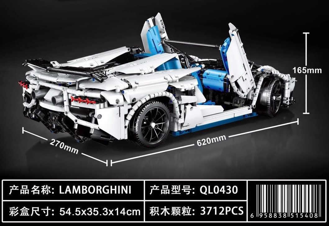 QL0430 серии Aventador SVJ Roadster Совместимость MOC-17698 3712 шт Строительные кирпичи игрушки на день рождения подарки для детей