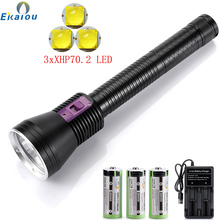 Battery Diving-Flashlight 3xxhp70 IPX8 Usb-Charger Rating Professional Highest 3x26650