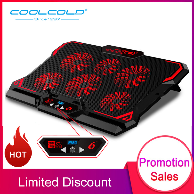 New COOLCOLD 17inch Gaming Laptop Cooler Six Fan Led Screen Two USB Port 2600RPM Cooling Pad Notebook Stand for