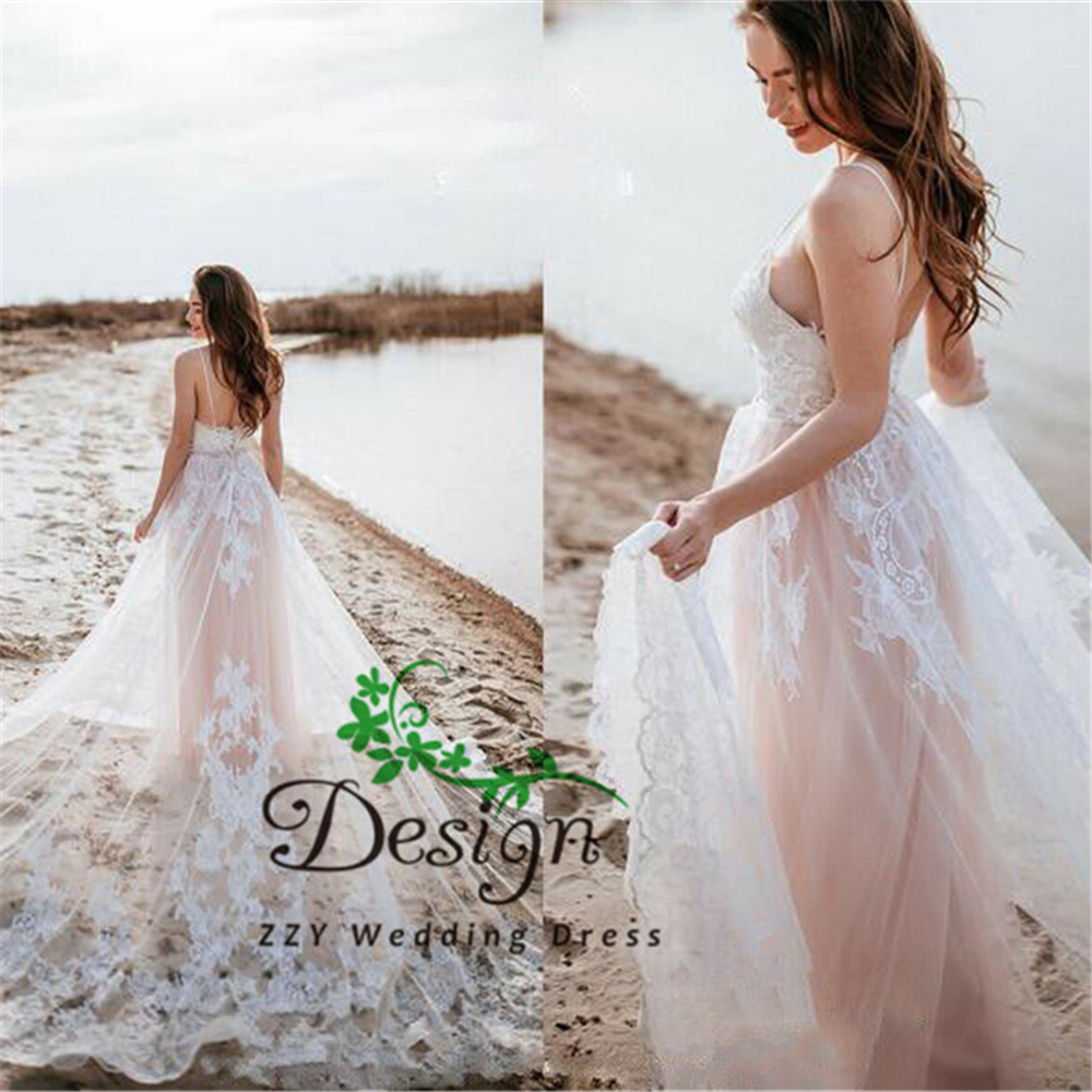 Ivory Spaghetti Straps Tullle And Organza Droppes Sheath Sexy Formal Wedding Gowns Appliques Beading Custom-Made Dress Wedding