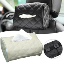 Reposacabezas de asiento trasero de coche, caja de pañuelos para colgar, conveniente visera de cuero PU, caja de pañuelos para colgar, suministros para coche