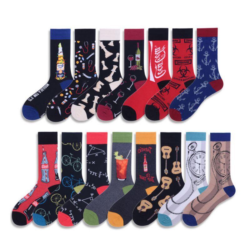 Sock Men Mid Stockings Japanese Creative Soda Fruit Juice Skateboarding Casual Bicycle Socks Couple Socks 39~46 Yards