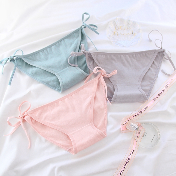 1 PCS 8 Styles Women Solid Color Frenulum Low-Rise Cotton Briefs Underwear Panties For Girls