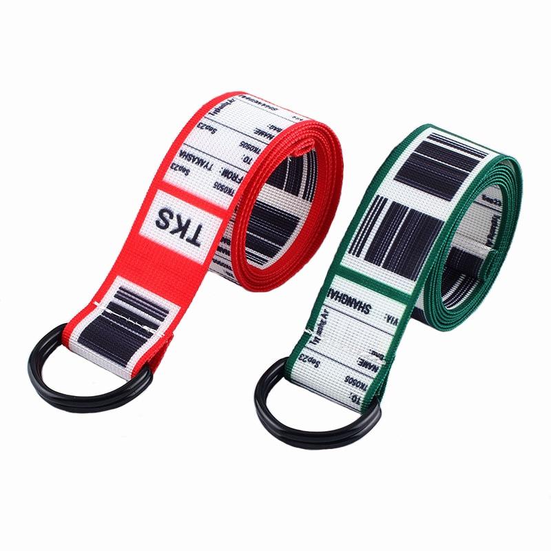 Fashion Bar Code Letter Printing Canvas Belt Harajuku Men Women Casual Jeans D Ring Buckle Waist Belts 130Cm Long Waistband Z30