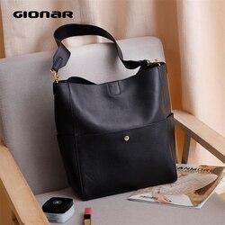 GIONAR RFID Echte echtem Leder Handtasche Designer Geldbörse für Frauen Bucket Tote Soft Top Schicht Rindsleder Umhängetasche Schulter Arbeit Tasche