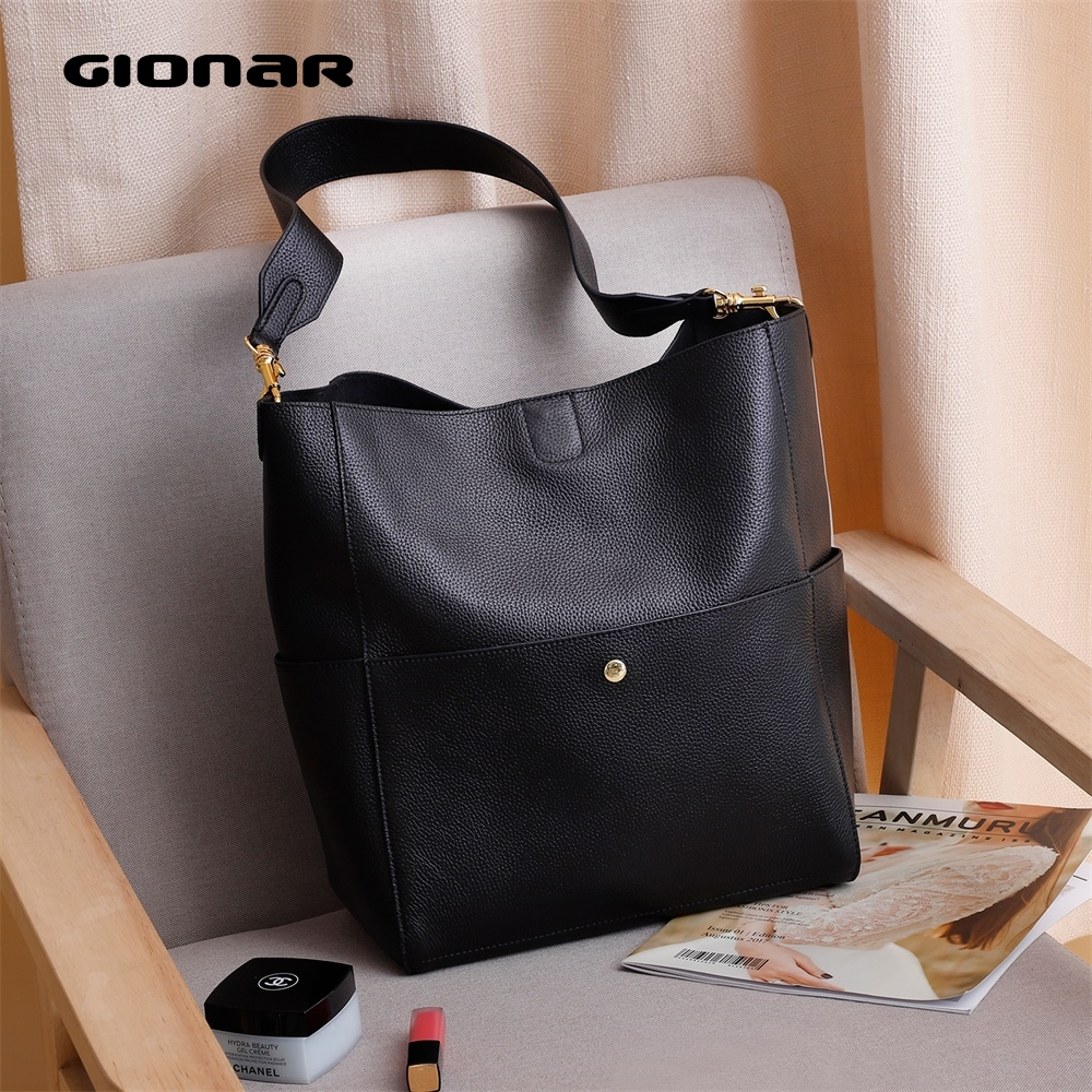 GIONAR RFID Genuine Real Leather Handbag Designer Purse For Women Bucket Tote Soft Top Layer Cowhide Crossbody Shoulder Work Bag