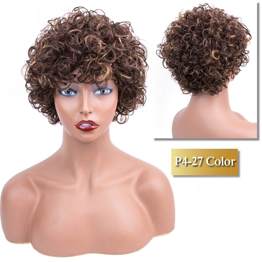 Short Bob Wig Curly Human Hair Wigs P4/27 Color Peruvian Short Wigs For Women Bob Human Hair Wig Dorisy Non Remy Hair