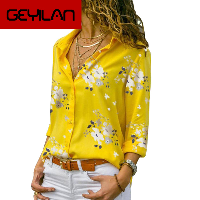 Long Sleeve Women Blouses 2019 Plus Size Turn-down Collar Blouse Shirt Casual Tops Elegant Work Wear Chiffon Shirts 5XL 1